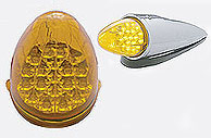 Grakon 1000 Style LED Cab Light, Reflector Style-Amber Lens Chrome Plastic Housing-19 LEDs
