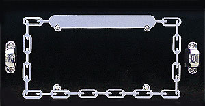 License Plate Frame-CHAIN PERIMETER With BLANK TOP